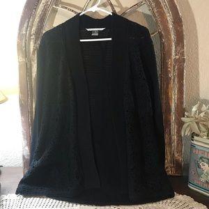 Peter Nygård Size Large open Sweater Jacket Black